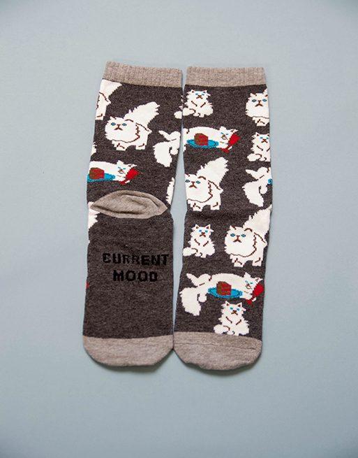 גרביים אפורים עם חתול פרסי מפונק