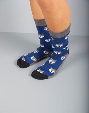 גרביים כחולים עם זאבים אפורים
