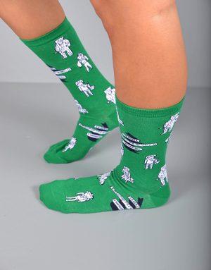 גרביים ירוקים עם דמויות שחור לבן
