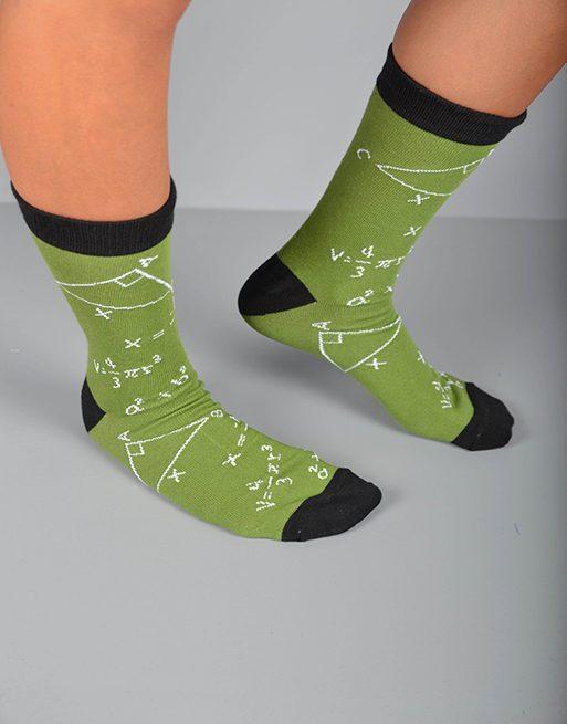 גרביים בצבע ירוק ושחור עם משפט פיתגורס