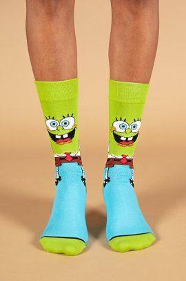 גרביים בעיצוב בוב ספוג ירוק תכלת