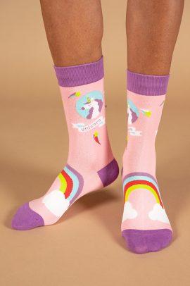 גרביים בעיצוב חד קרן בקשת וענן
